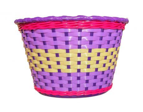 Košík na riadidlá, detský plastový, ružová s bielym okrajom