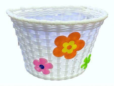 Košík na riadidlá , detský plastový, biely, ružové kvietky