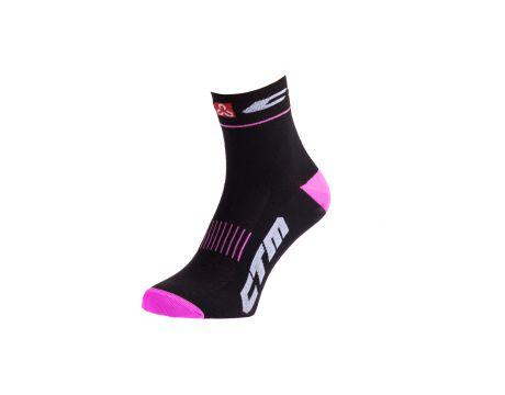 Ponožky CTM XC, čierna/ružová, 34-37
