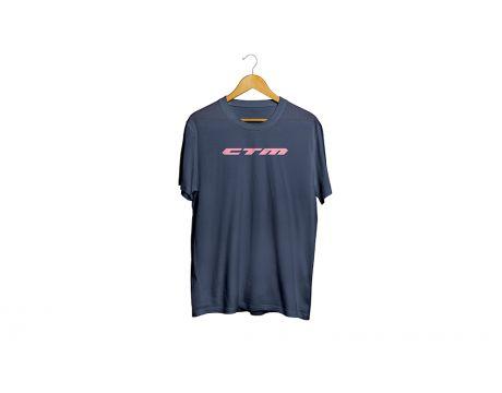 Tričko modré CTM, oranžový nápis XXL