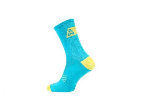 Ponožky CTM Base 16, tyrkysová/limetka, 43-47