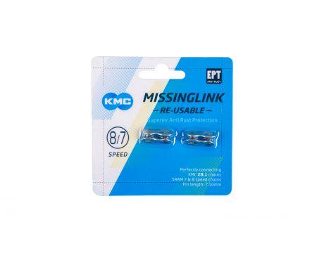 Spojka reťaze  KMC, 7/8 kolo, ReUseable EPT Silver, 7,1mm