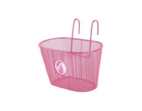 Košík drôtenný na riadidlá, ružový, detský