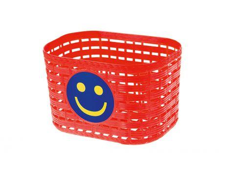Košík plastový na riadidlá, detský, červený