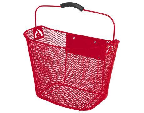 Košík na riadidlá, drôtený,Clip-On, červený