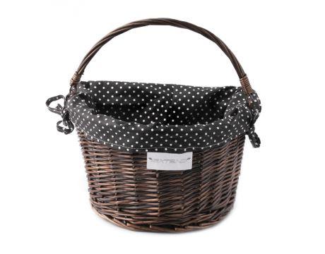 Košík na řidítka Extend CREDO, proutěný, QR, dark brown, black-white