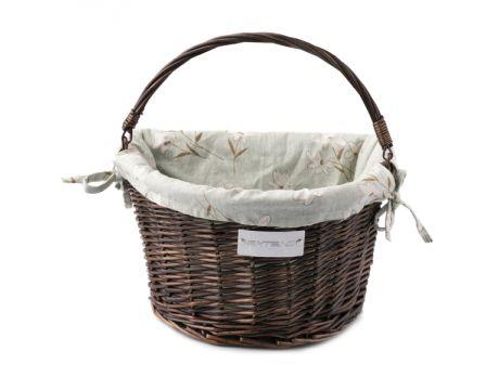 Košík na řidítka Extend CREDO, proutěný, QR, dark brown, green-white flowers