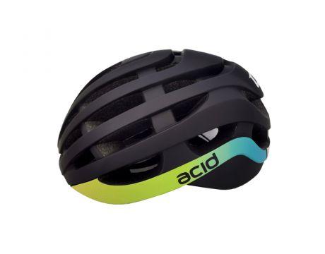 Cyklistická prilba ACID, S / M (54-58cm), black-blue-yellow, matt-shine